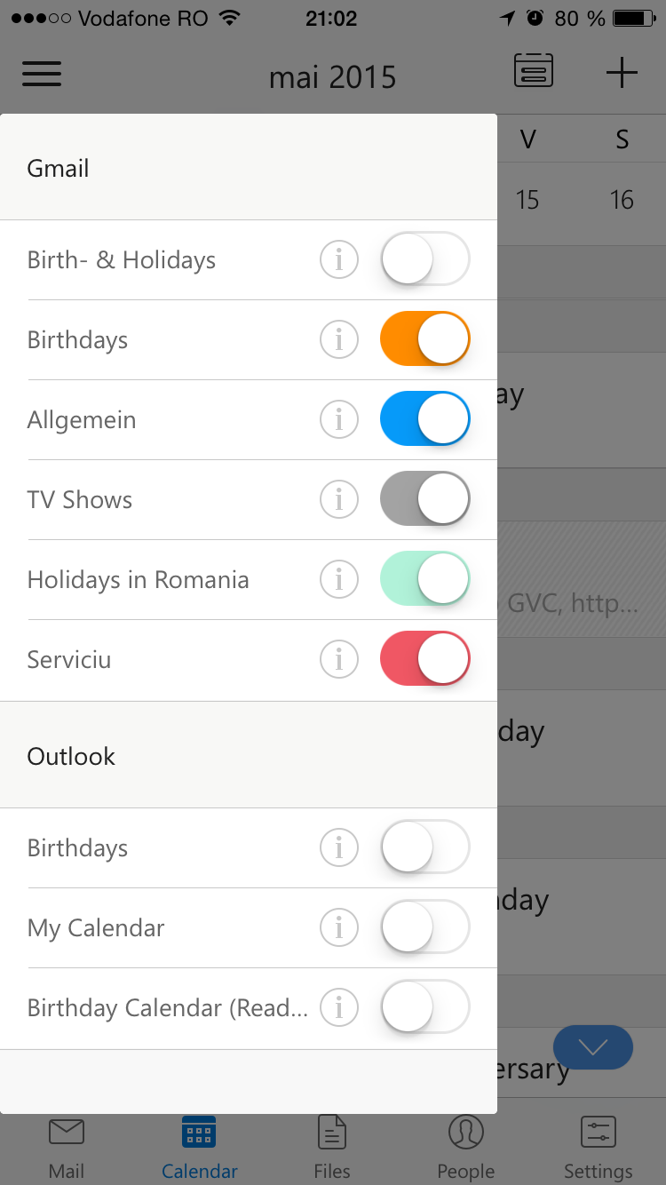 Outlook for iOS: select calendars