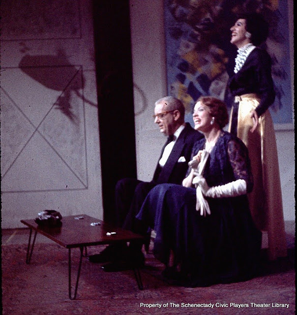 George Braden, Catsey Hagel and Martha Goldhoff in AUNTIE MAME - December 1961.  Property of The Schenectady Civic Players Theater Archive.