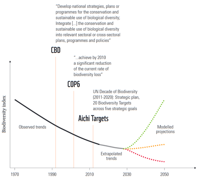 Biodiversity declines have continued despite repeated policy commitments aimed at slowing or halting the rate of loss. The Strategic Plan for the Convention on Biological Diversity (2010–2020) includes the 20 Aichi Targets to be achieved by 2020. Recent projections suggest that this is unlikely for most of the targets. Yet the 2050 vision requires a much more ambitious goal, which will necessitate recovery of biodiversity and bending the curve by 2030. The black line indicates currently observed trends (to 2015), dotted lines show extrapolations from current trends (black) and projections for biodiversity after 2030 that are declining (red), stabilizing (orange) or recovering (green). Redrawn from Mace, et al., 2018 / Nature Sustainability. Graphic: WWF
