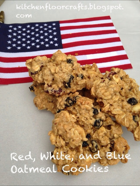 Kitchen Floor Crafts: Red, White, & Blue Oatmeal Cookies