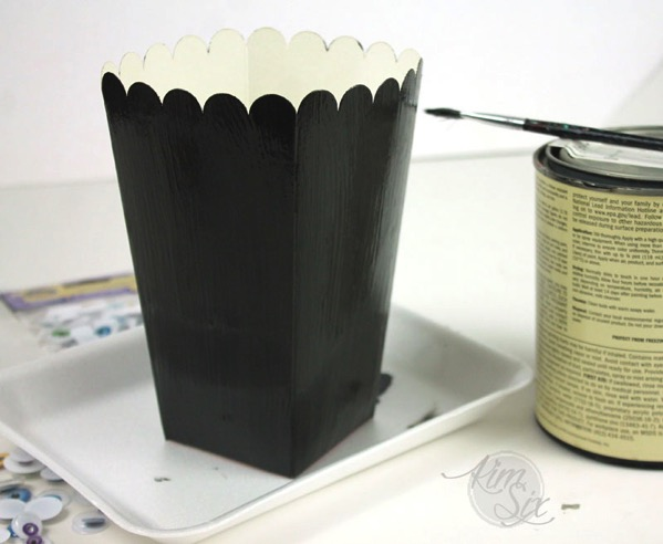 Painting popcorn box black