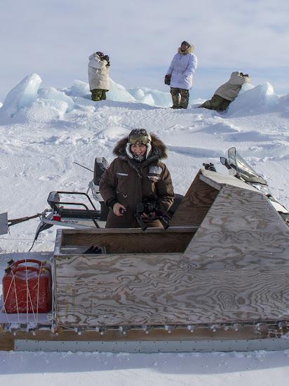 Filming hunters: Hudson Bay ice floe edge, near Sanikiluaq.