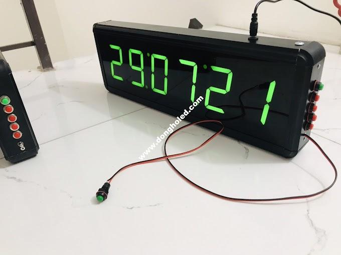 Đồng hồ led treo tường 6 số Bấm giây thể thao -1 Nút