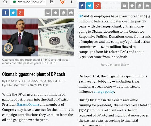 f703b147be411 Obama biggest recipient of BP cash