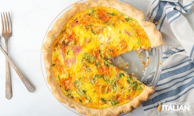 sliced ham and cheese quiche