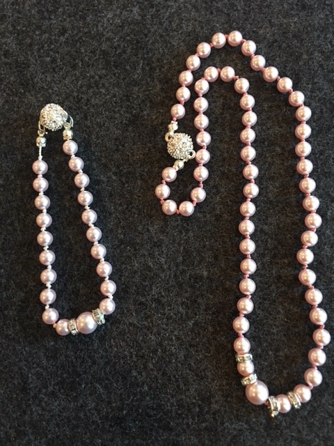 Pink  Rowe necklace and bracelet set