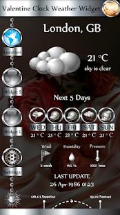 Valentine Clock Weather Widget - náhled