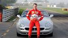 Michael Schumacher with a Maserati on Fiorano Circuit in Maranello