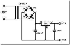 Catu Daya +5 volt / 2 ampere dengan penstabil tegangan IC 7805.