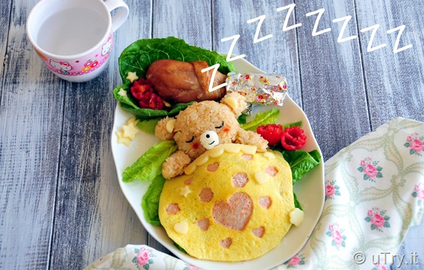 How to Make Wish Upon s Star - Rilakkuma Bear Bento with step-by-step video tutorial  http://uTry.it