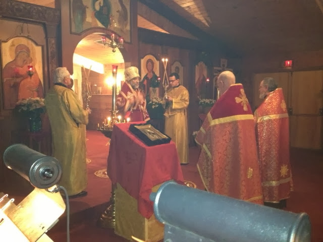 Bishop Michael blesses following the Vigil on the eve of the Feast.