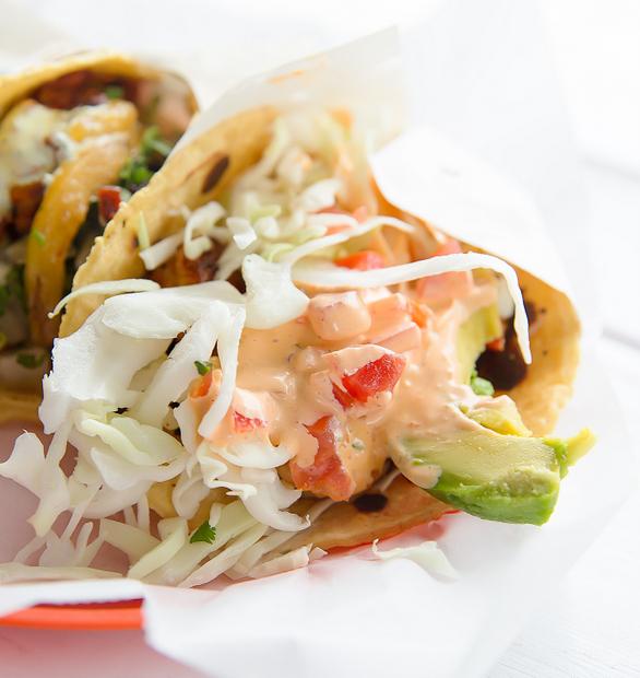close-up photo of a CAMARON taco