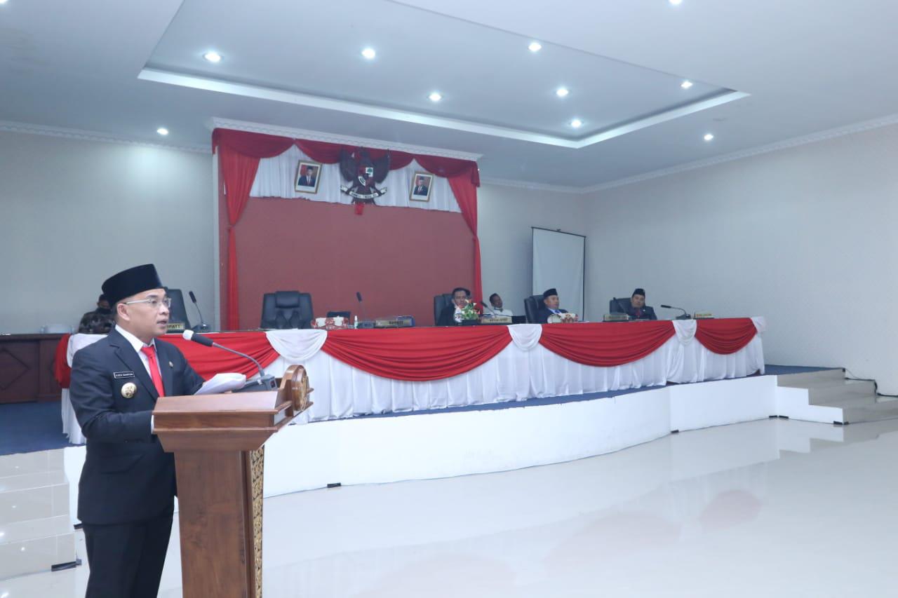 Penyerahan Keputusan DPRD tentang Rekomendasi atas LKPJ Bupati Muratara tahun 2020. (Poto/Ist)