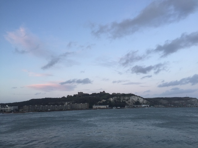 view of Dover Castle from Pirince of Wales Pier