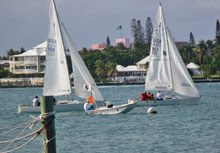 J/22s match racing in Nassau Harbor, Bahamas