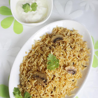Mushroom Biryani Recipe , How To Make Easy Mushroom Biryani