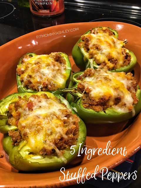 5 ingredient, stuffed, peppers, easy, clean, dinner, delicious, healthy, taco, tuesday