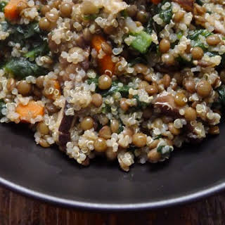 Vegetarian Lentils and Quinoa with Mushrooms and Spinach.