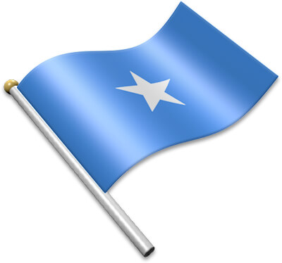 The Somali flag on a flagpole clipart image