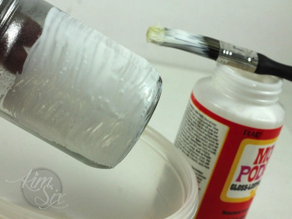 Mod podge glittered mason jars