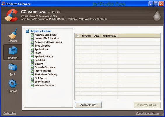 Menu Registry di CCleaner 4.06.4324