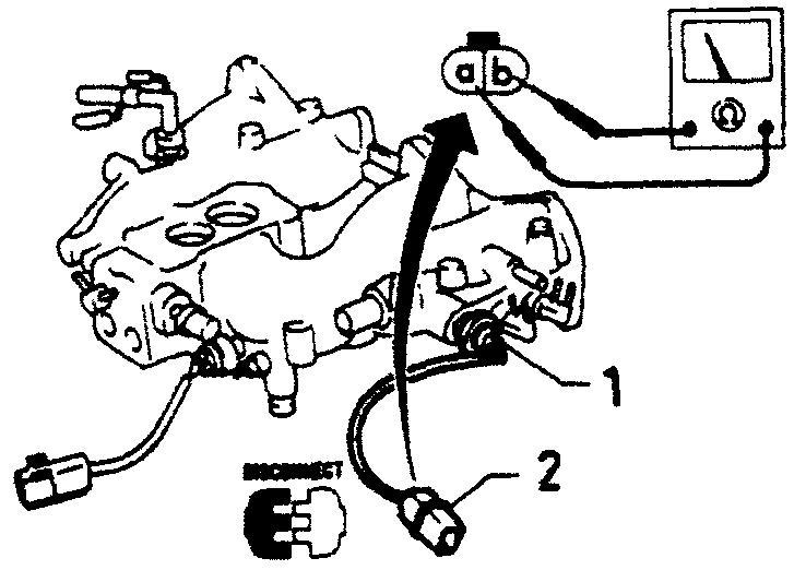 Проверка термовыключателя системы контроля скорости холостого хода, при помощи омметра