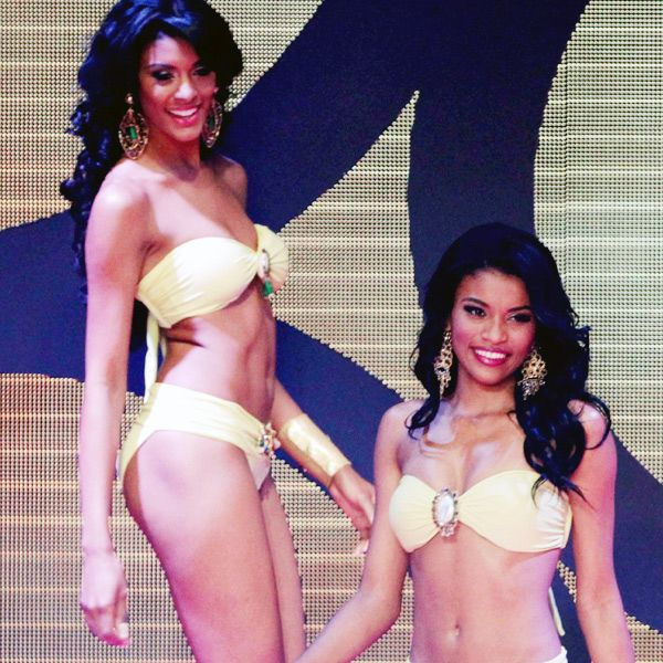 Contestants compete in the swimsuit category at the Miss Panama 2013 beauty contest, held in Panama City, on April 30, 2013.