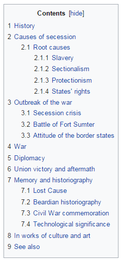 Table Of Contents of a wikipedia page