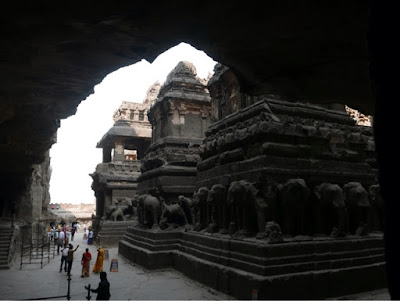 The central structures at cave 16 at Ellora, carved with life-size elephants
