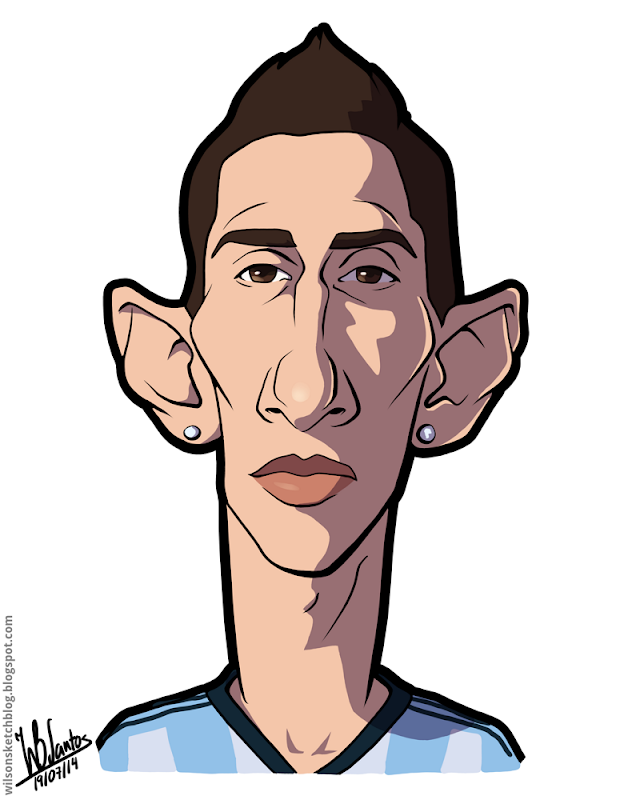 Cartoon caricature of Ángel Di María.