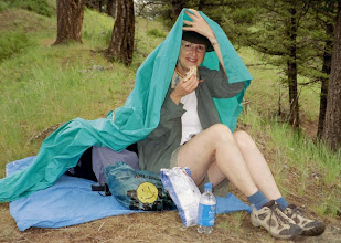 Photo: Lunch in The Rain, Yellowstone National Park (July 2004)