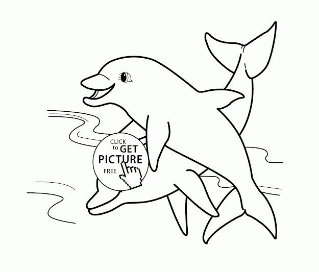 Animal Coloring Page For Kids Printable Two Dolphins  Sea Animals Coloring  Pages For Kids