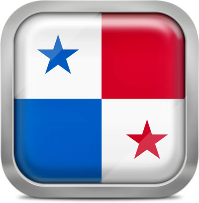 Panama square flag with metallic frame