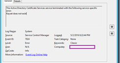 Terence Luk: Unable to start Microsoft CA service after migrating