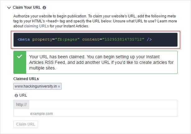 claim URL facebook