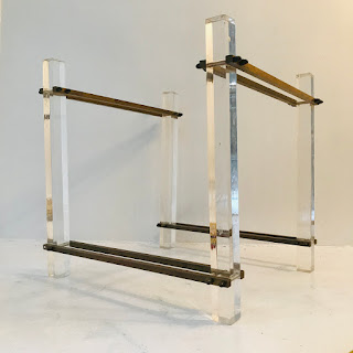 Lucite and Brass Table Base