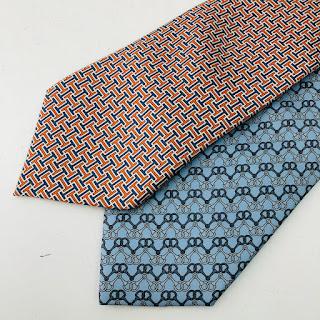 Hermès Blue and Orange Tie Pair