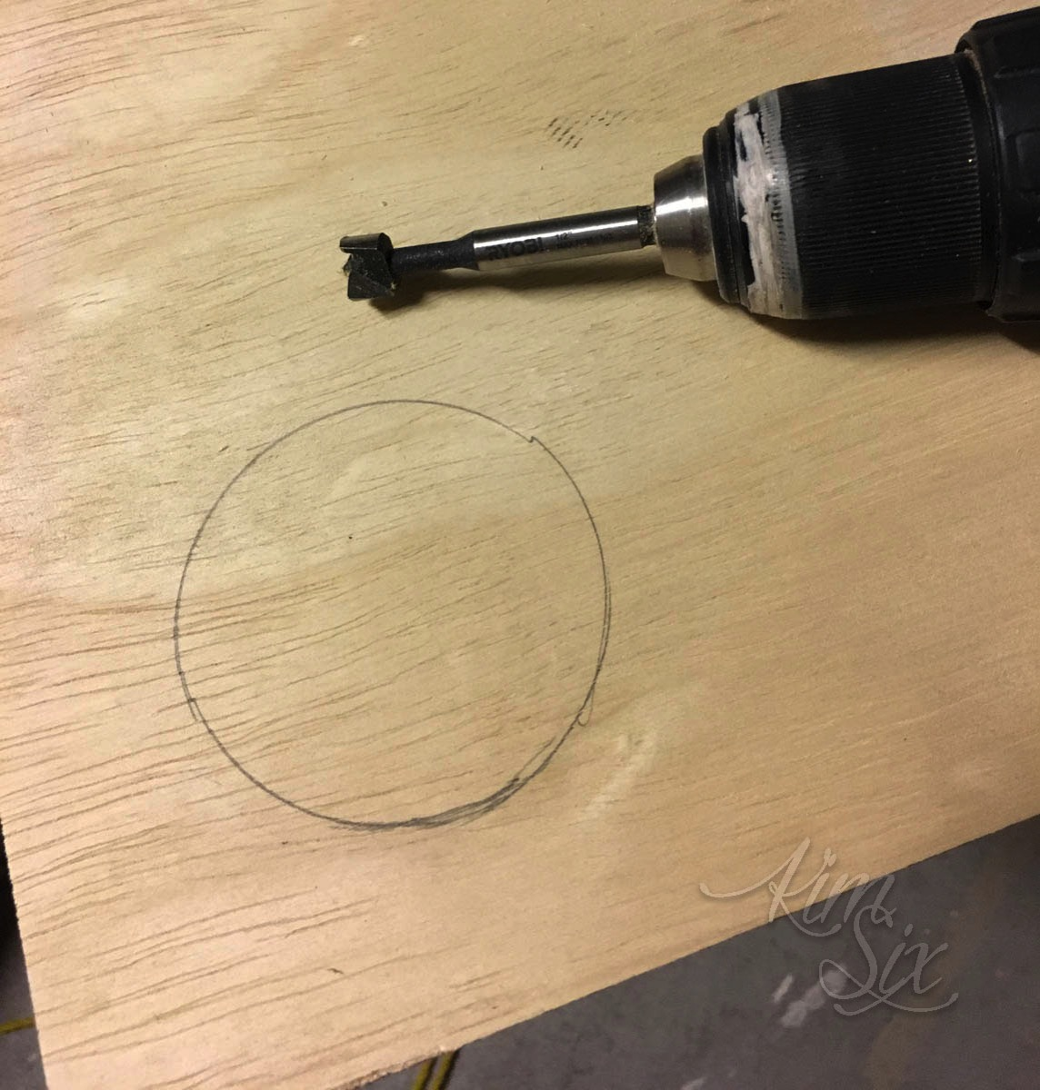 Drilling pilot hole for jig saw