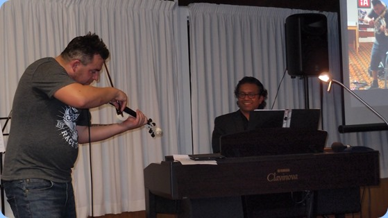 Nick Jones on fiddle and Ben Fernandez on keys. Photo courtesy of Dennis Lyons.