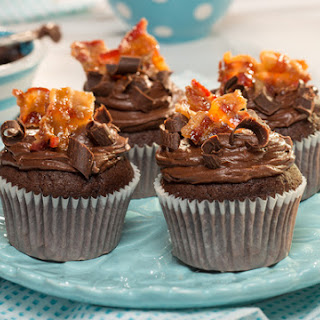 Bourbon & Candied Bacon Triple Chocolate Cupcakes.