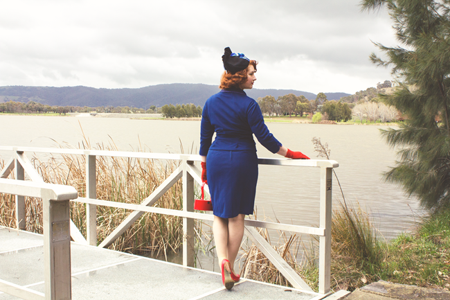 1950's vintage look ~ navy suit and a tilt hat | Lavender & Twill
