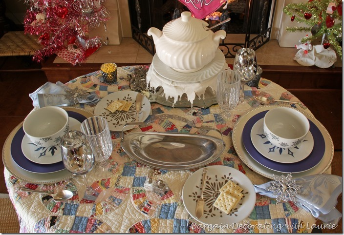 Winter tablescape-Bargain Decorating with Laurie