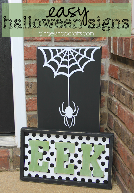 Easy Halloween Signs at GingerSnapCrafts.com #halloween #DIY #homedecor
