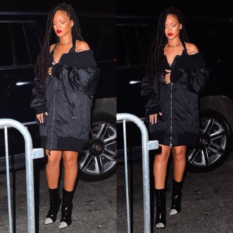 Rihanna wears FENTY x PUMA Bomber Jacket in New York
