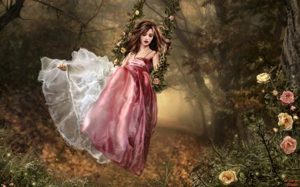 Beauty In Rose Dress In Garden, Magic Beauties 2