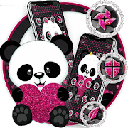 Cute Cartoon Pink Heart Panda Theme