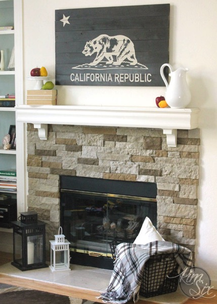 California Republic Wooden Sign over Fireplace