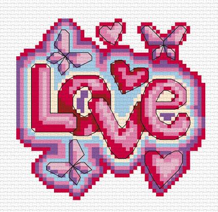 Cross stitch pattern LOVE by Durene Jones
