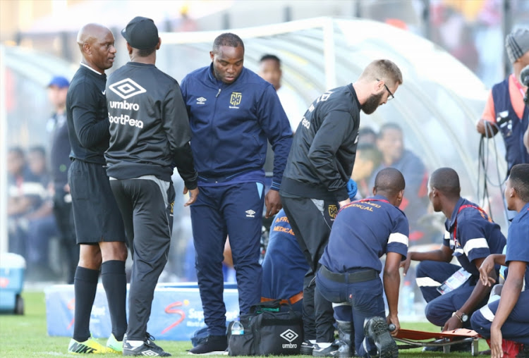 Cape Town City coach Benni McCarthy reacts after one of his players was roughly tackled during the MTN8 1-0 win over Maritzburg United at Harry Gwala Stadium on August 12, 2018 in Pietermaritzburg, South Africa.