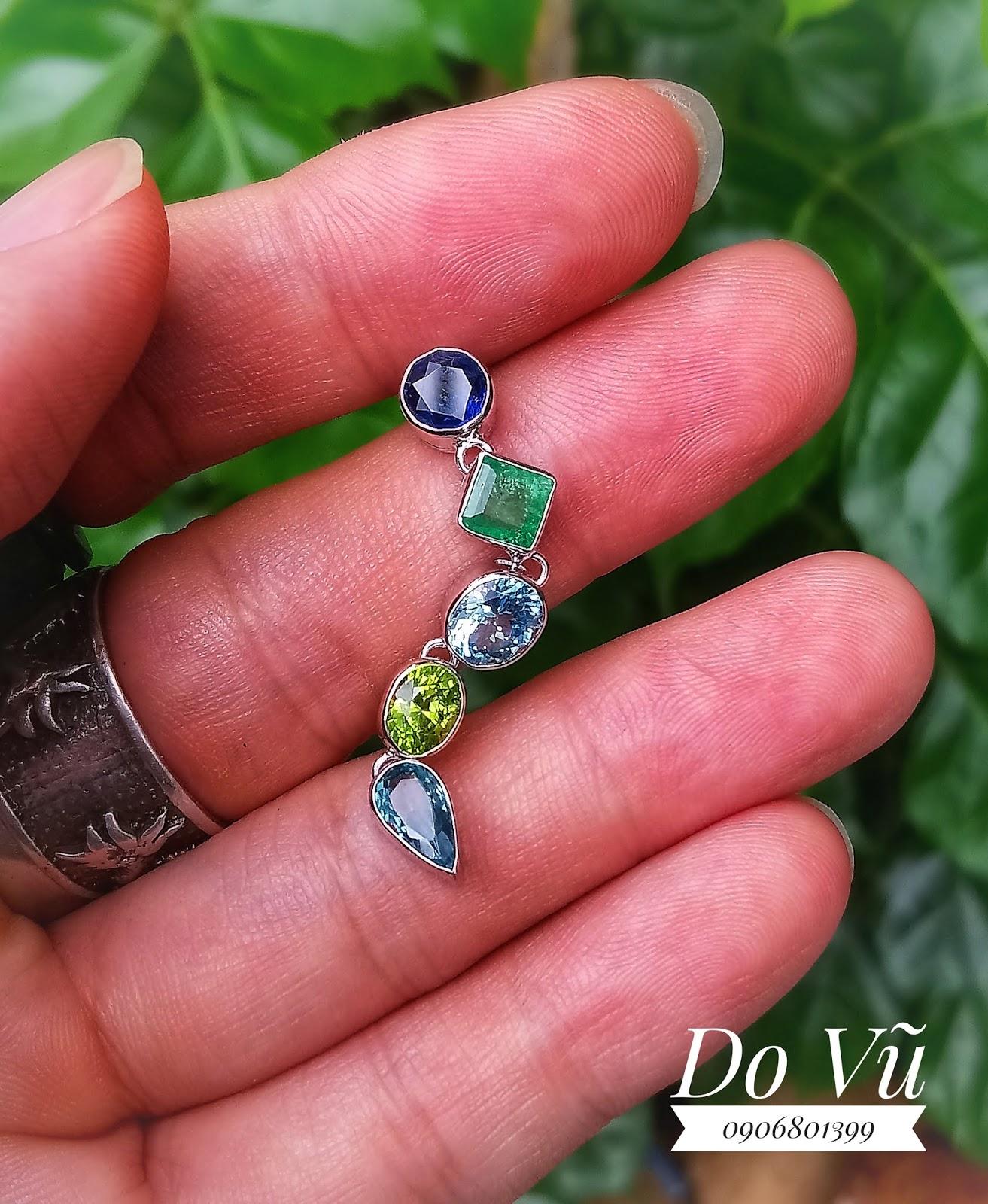 Mặt dây đá quý Sapphire, Ngọc Lục Bảo, Aquamarine, Peridot, Topaz thiên nhiên, vàng trắng (25/04/20, 02)